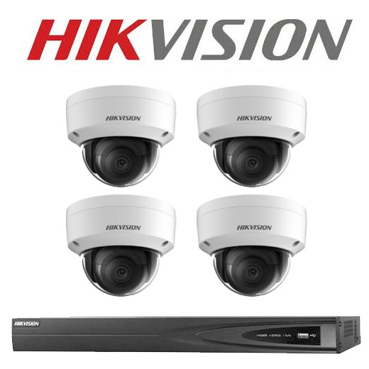 6MP 4CH Hikvision CCTV Kit: 4 x IP Vandalproof Dome Cameras + 4CH NVR